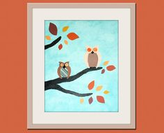 Owl nursery art. Owl print, Woodland nursery décor for kids. Modern Baby nursery art print, 8x10 nursery wall art by WallFry