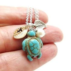 Initial Turtle Necklace, Monogrammed Stamped Leaf Charm,Turquoise Turtle, Pearl by 4Everinstyle on Opensky