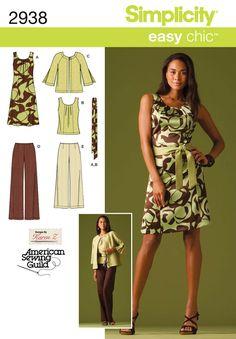 Simplicity 2938 - misses dress top pants, jacket and tie belt
