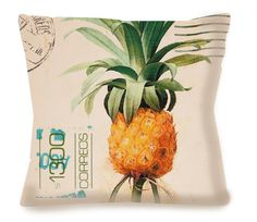 """Vintage Decorative Travel Pillow - PINEAPPLE POSTCARD - !Arriba Chica!, loosely translated to mean """"Go for it, girl!"""" Arriba Chica offers my orignial art + original home decor pillows infused with design elements from Mexican culture."""