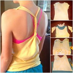 Easy DIY tshirt to workout tank. No-sew,  10 minutes tops.