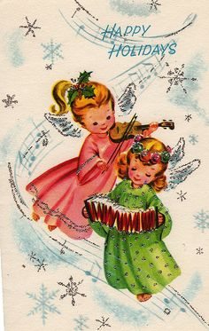 Have an angelically lovely Christmas! #angels #vintage #Christmas #cards