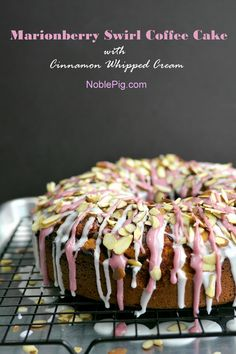 Marionberry Swirl Coffee Cake with Cinnamon Whipped Cream from NoblePig.com