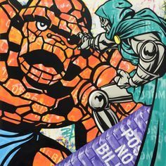 Street art maestro SEEN recreates some classic characters from the comics world...  http://www.weheart.co.uk/2014/06/04/seen-superheroes-at-opera-gallery-london/