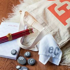 A gift tote filled with personalized items