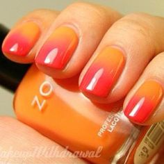 Orange/pink summer nails ombre, instagram, orang, colors, summer nails, nail arts, templ, glitter, medium
