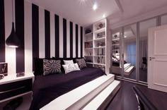 Interior Design Photos of Black White Striped Theme Bedroom with Platform #stripes #Design #chic