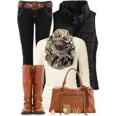 """""""Aztec Infinity Scarf"""" by shannonmarie-94 on Polyvore lace tops, fall outfits, brown boots, casual outfits, aztec infin, fashion worship, fall styles, black jeans, fashion designers"""