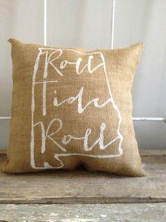 University of Alabama burlap pillow Roll Tide by TwoPeachesDesign