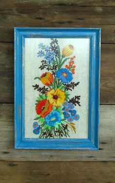 Vintage Crewel Framed Floral