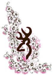 """Browning For Her Flower Decal 3922090551, Bouquet - 5"""" Pink/Black"""