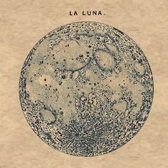 "Full Moon ""La Luna"" Print Recovered Vintage Image to Frame A3"