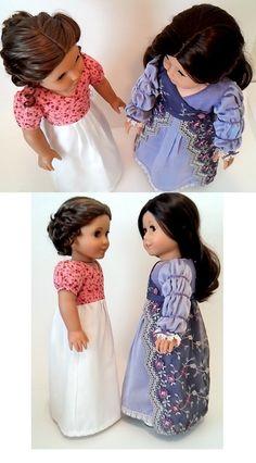 "Georgiana sewing pattern for Caroline by Dollhouse Designs for 18"" American Girl dolls"