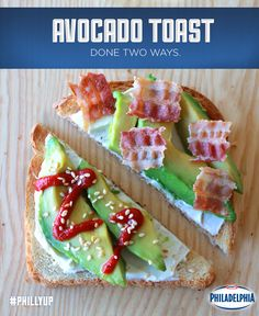 There are so many ways to make avocado toast, it just takes a little imagination! For two completely different snacks, we topped one slice of toast with Philly Cream Cheese, avocado and strips of bacon, and the other slice with Philly Cream Cheese, avocado, sriracha and toasted sesame seeds. Yum! #recipe