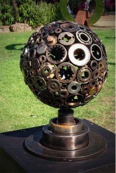 steampunk garden, ball, gear sculptur, nut, garden sculptures, metal art, flowers garden