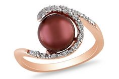 Chocolate freshwater pearl & diamond ring set in silver with pink rhodium. Stunning!