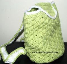 Crochet shell backpack. Free crochet pattern