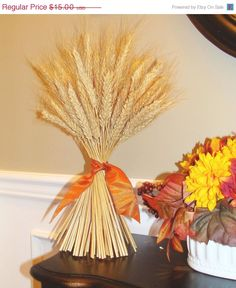 Fall Decor- Thanksgiving Decoration- Thanksgiving Centerpiece Wheat Sheaf With Ribbon- Mantle Decoration- Fall Decoration- Sale on Etsy, $13.50