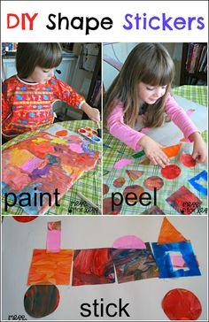DIY Shape Stickers - Such an easy way to create stickers using paint and contact paper. You can then arrange the stickers on a piece of pape...