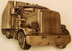 Vintage Semi Truck Belt Buckle ~ Bergamot Brass Works ~ 1977 ~ Model Y-38