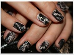 Lace nail art. (Ecru or white for the wedding.)
