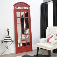British Telephone Booth Design Wall Mirror - Revival