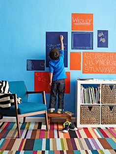 Adhesive chalk stickers allow kids to scribble on the walls. He can use them to play school, jot reminders, or make art masterpieces!