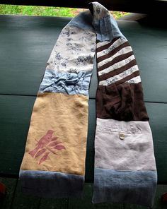 Pretty scarves from scrap fabric or repurposed old clothes, no instruction in this link but I think I can figure it out.