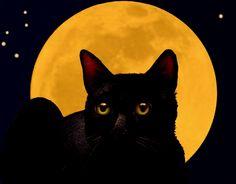 Black Cat Full Moon Art Print Melody Lea Lamb. $25.00, via Etsy.