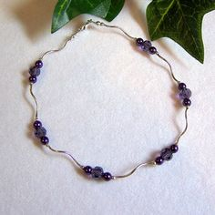 Purple Flirt  Anklet in Sterling Silver by 1BeadUnlimited on Etsy, $16.00