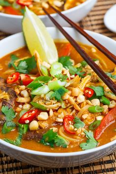 Thai Peanut Chicken Noodle Soup peanuts, peanut chicken, chicken noodle soups, thai chicken soup, noodles, thai chicken peanut soup, food, noodl soup, thai peanut