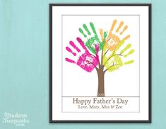 Personalized DIY Child's Handprint Tree - Printable PDF Father's Day Gift Poster