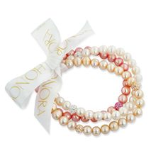 $94.99 Honora Set of (3) 7-8mm Ringed Freshwater Cultured Pearls and Crystal Stretch Bracelets - Rose/Multi - Bed Bath & Beyond