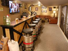 ROFL -- cause my man's man cave has a bag of feed in it too!  -- love the keg stools.. Man Caves - Pool Tables and Bars : Home Improvement : DIY Network