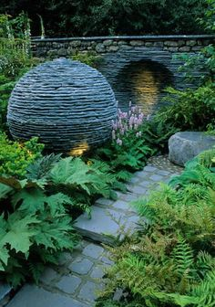 Slate ball in the garden for texture and interest