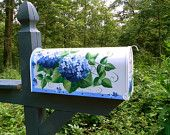 Blue Hydrangeas on a Hand Painted Mailbox (((((( JUMBO SIZE )))))))  Original Design - Functional Art