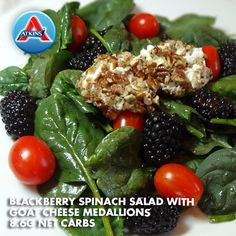 Try this colorful Blackberry Spinach Salad with Goat Cheese Medallions to accompany a special entrée. (Phases 2-4)