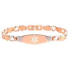 Hope Paige Designs: PRE-ENGRAVED Type 1 #Diabetes #Bracelet - Rose Color Stainless Steel - 7 1/4 - Medical ID