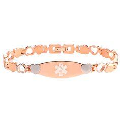Hope Paige Designs: PRE-ENGRAVED Type 1 #Diabetes #Bracelet - Rose Color Stainless Steel - 7 1/4 - Medical ID
