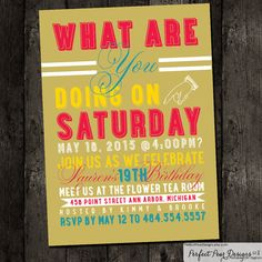 Birthday Party Invitation, Modern Girl, Boy, Adult, Teen, Kids, or Baby - Pink, Turquoise, Yellow - Printable, DIY, Digital on Etsy, $15.99