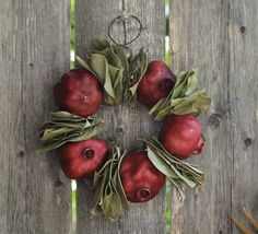 pomegran wreath, autumn leaves, bay leav, bays, christma decor