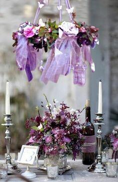 <3 <3 Add diy www.customweddingprintables.com ... Purple Wedding Table and Hanging Decor