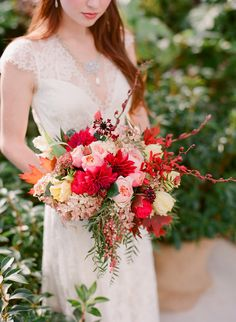 Fall Wedding Bouquet | Brilliant Wedding Colors | On SMP: http://www.stylemepretty.com/virginia-weddings/2013/11/26/claire-pettibone-shoot-at-the-market-at-grelen-from-jen-fariello | Photography: Jen Fariello