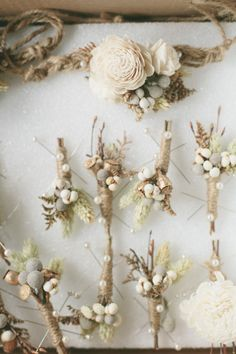 Winter boutonnieres: http://www.stylemepretty.com/little-black-book-blog/2014/05/09/cozy-union-hill-inn-wedding/ | Photography: Onelove Photography - http://www.onelove-photo.com/