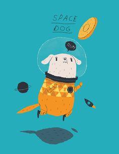 """Louis Roskosch """"Space Dog"""" illustration design"""