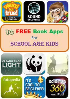 10 Free Book Apps for School Age Kids #kidsapps #books #kidlit #Free #elementary