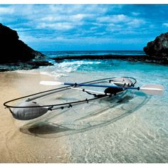 The Transparent Canoe Kayak, love it!! This canoe-kayak hybrid has a transparent polymer hull that offers paddlers an underwater vista unavailable in conventional boats. Seating two people, the sturdy hull is made of the same durable material found in the cockpit canopies of supersonic fighter jets.