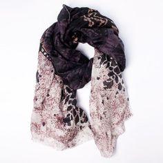 Silk Scarf Black/Beige/Purple now featured on Fab.