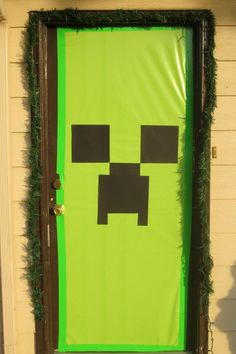 the doors, birthday party minecraft, green doors, birthday parties, minecraft door, front doors, parti door, minecraft parti, creeper face