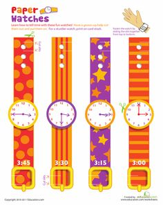 Worksheets: Practice Telling Time with Play Watches: 3 O'Clock